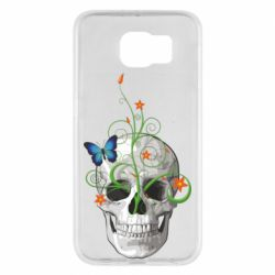 Чехол для Samsung S6 Skull and green flower
