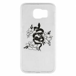 Чохол для Samsung S6 Snake with flowers