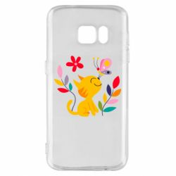 Чехол для Samsung S7 Cat, Flowers and Butterfly