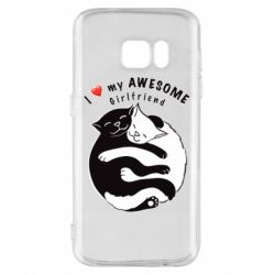 Чехол для Samsung S7 Cats with red heart