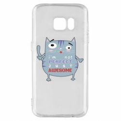Чехол для Samsung S7 Cute cat and text