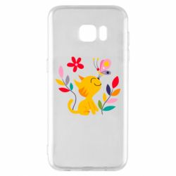 Чехол для Samsung S7 EDGE Cat, Flowers and Butterfly