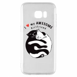Чехол для Samsung S7 EDGE Cats with red heart