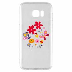 Чехол для Samsung S7 EDGE Flowers and Butterflies