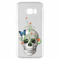 Чехол для Samsung S7 EDGE Skull and green flower