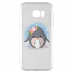 Чехол для Samsung S7 EDGE Two cute penguins