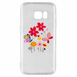 Чехол для Samsung S7 Flowers and Butterflies