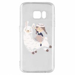 Чохол для Samsung S7 Girl with a lama