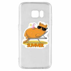 Чохол для Samsung S7 Котик на пляжі