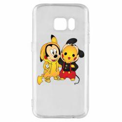 Чехол для Samsung S7 Mickey and Pikachu