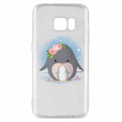 Чехол для Samsung S7 Two cute penguins