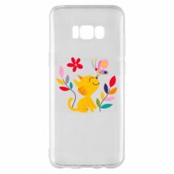 Чехол для Samsung S8+ Cat, Flowers and Butterfly