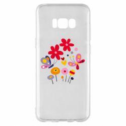 Чехол для Samsung S8+ Flowers and Butterflies