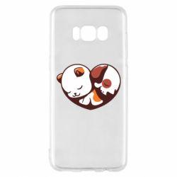 Чохол для Samsung S8 Сердечко. Котик и собачка