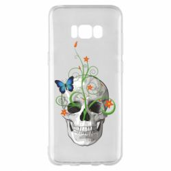 Чехол для Samsung S8+ Skull and green flower