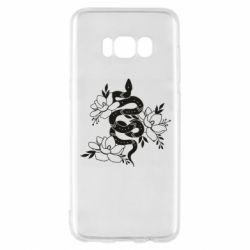Чохол для Samsung S8 Snake with flowers