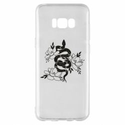 Чохол для Samsung S8+ Snake with flowers