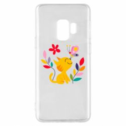 Чехол для Samsung S9 Cat, Flowers and Butterfly