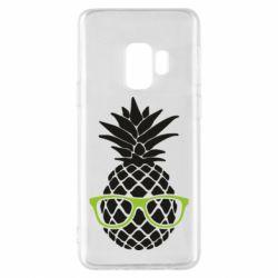 Чехол для Samsung S9 Pineapple with glasses