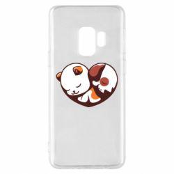 Чохол для Samsung S9 Сердечко. Котик и собачка