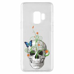 Чехол для Samsung S9 Skull and green flower