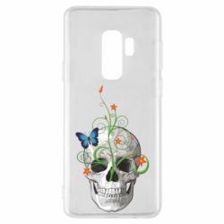 Чехол для Samsung S9+ Skull and green flower
