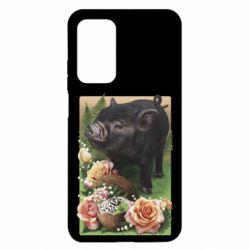 Чехол для Xiaomi Mi 10T/10T Pro Black pig and flowers