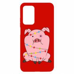 Чехол для Xiaomi Mi 10T/10T Pro Свинья обмотанная гирляндой