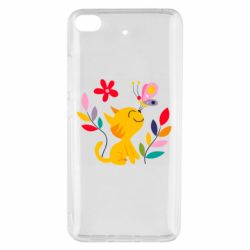 Чехол для Xiaomi Mi 5s Cat, Flowers and Butterfly