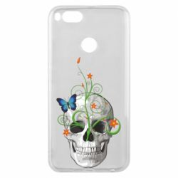 Чехол для Xiaomi Mi A1 Skull and green flower