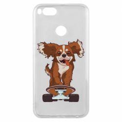 Чехол для Xiaomi Mi A1 Собака Кавалер на Скейте