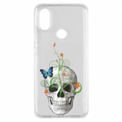 Чехол для Xiaomi Mi A2 Skull and green flower