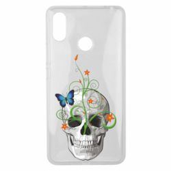 Чехол для Xiaomi Mi Max 3 Skull and green flower