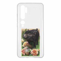 Чехол для Xiaomi Mi Note 10 Black pig and flowers