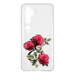 Чехол для Xiaomi Mi Note 10 Буква Е с розами