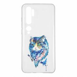Чехол для Xiaomi Mi Note 10 Cat in blue shades of watercolor