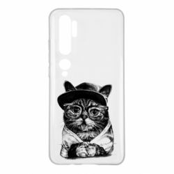 Чохол для Xiaomi Mi Note 10 Cat in glasses and a cap