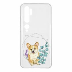 Чехол для Xiaomi Mi Note 10 Corgi and flowers