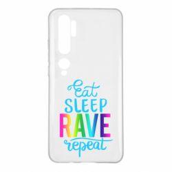 Чохол для Xiaomi Mi Note 10 Eat, sleep, RAVE, repeat