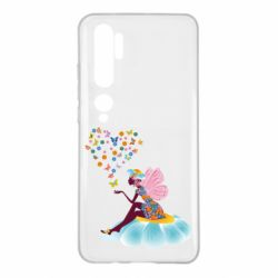 Чехол для Xiaomi Mi Note 10 Fairy sits on a flower with butterflies
