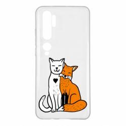 Чохол для Xiaomi Mi Note 10 Fox and cat heart