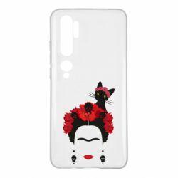 Чехол для Xiaomi Mi Note 10 Frida Kalo and cat