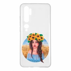 Чехол для Xiaomi Mi Note 10 Girl in a wreath of sunflowers