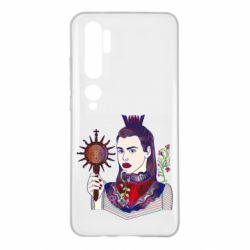 Чехол для Xiaomi Mi Note 10 Girl with a crown and a flower on a beard