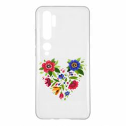 Чехол для Xiaomi Mi Note 10 Heart made of flowers vector