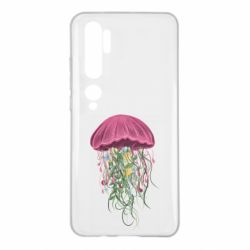 Чехол для Xiaomi Mi Note 10 Jellyfish and flowers