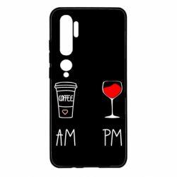 Чехол для Xiaomi Mi Note 10 Кофе и бокал с вином