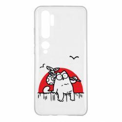 Чехол для Xiaomi Mi Note 10 Кот Саймона на фоне заката