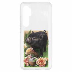 Чехол для Xiaomi Mi Note 10 Lite Black pig and flowers