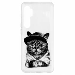 Чохол для Xiaomi Mi Note 10 Lite Cat in glasses and a cap